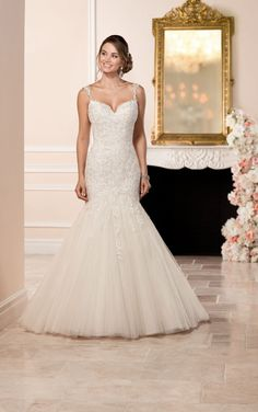 6314 Fit and Flare Wedding Dress with Illusion Back by Stella York