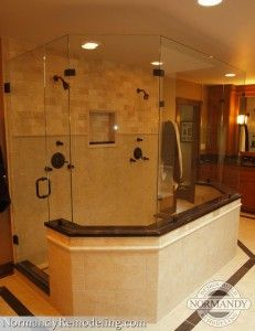 The ultimate his and her bathroom!  Natural colors are popular for bathrooms because they add such a calming aesthetic.