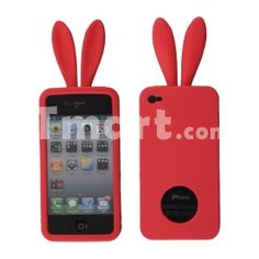 Cute Rabbit Pattern Silicone Case for iPhone 4 Red,$4.35