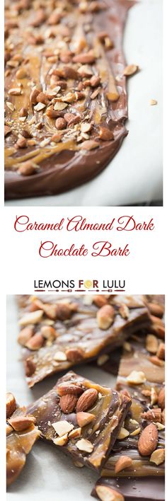 Dark chocolate bark recipe with sweet swirls of caramel and lightly salted almonds! lemonsforlulu.com