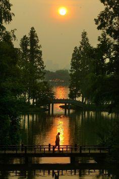 Sunrise at West Lake, Hangzhou, China