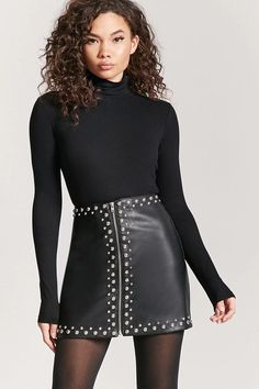 Product Name:Studded Faux Leather Mini Skirt, Category:bottoms, Price:22.9
