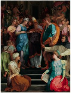 The Marriage of the Virgin, by Rosso Fiorentino, Basilica di San Lorenzo, Florence. Religious Images, Religious Art, Renaissance Kunst, Italian Renaissance, Italian Paintings, Most Famous Artists, Biblical Art, Italian Artist, Beautiful Paintings