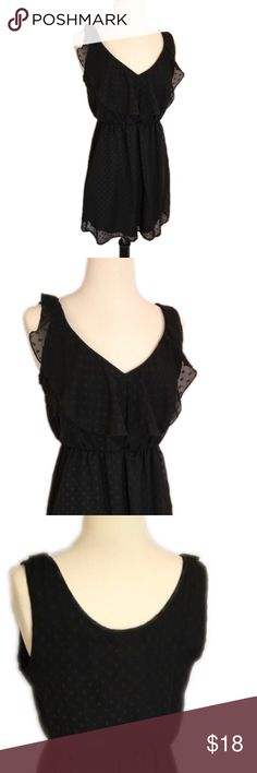 """Mixed 26 little black dress with flattering waist Cute little black dress. Sheer top layer with polka dots. Ruffle around collar that end T top of shoulder. Waist is approx 22"""" (11"""" flat lay)  it is very stretchy. Mixxed 26 Dresses Mini"""