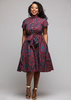 Ebele African Print Mandarin Collar Shirt Dress (Pink/Teal Ditsy)- Clearance - How To Be Trendy Ankara Short Gown Styles, Short African Dresses, Short Gowns, Latest African Fashion Dresses, African Dress Styles, African Shirt Dress, Modern African Clothing, African Print Clothing, African Print Fashion