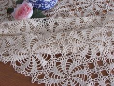 Beautiful Vintage Hand Crocheted Tablecloth - Crocheted Square Table Topper - Vintage Beige Tableclo