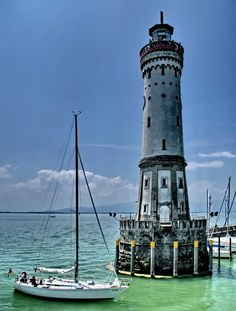 Sail Boat - Lighthouse, Lindau, Germany.