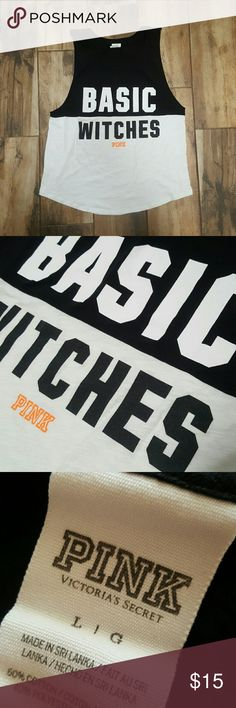 """VS PINK """"Basic Witches"""" tee Cutoff sleeves PiNK tee.   Bust 20"""" Length 24.5"""" PINK Victoria's Secret Tops Muscle Tees"""