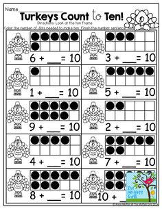 How many more to MAKE TEN?  Use little stickers or color in the boxes!  TONS of fun and helpful printables!