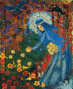 In Poland, nasturtiums are planted on grave sites to represent the life that springs from death. This is a beautiful image of the Mary planting the flowers of life on a grave on All Soul's.