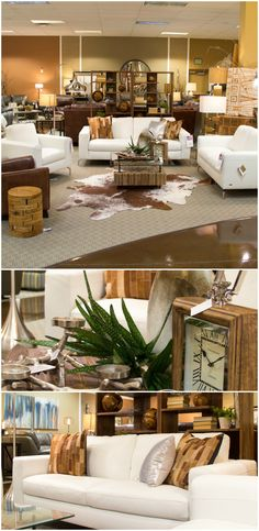 This breath-taking design created by Boulevard Home Furnishing's Display Team merges this beautiful, sleek white contemporary sofa with rustic wood elements shown in the accent furniture and accessories.  The very hip cowhide rug adds the finishing touch to this on-trend display!