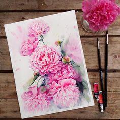 Pink peonies sale 30x40 cm ,w&n on arches paper 185 gsm, check steps of painting on behance! Розовые пионыпродаются 30x40 см, процесс рисования можно посмотреть на behance, ссылка в профиле