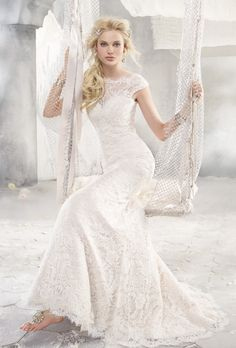 alvina valenta sheath wedding dress with bateau neckline and waistline #weddingdress