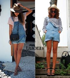 Salopette short en jean + marinière + chapeau = le bon look ! Salopette Short Jean, Fashion Mode, Fashion Outfits, Bon Look, Jeans Refashion, Look Short, Autumn Fashion 2018, Festival Outfits, Jean Outfits