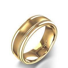 Alianza de Boda para Hombre con Sesgado Grueso y Acabado Satinado en Oro…