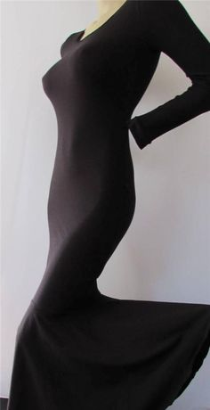 Mermaid Wiggle Dress Black Cotton Lycra Long Sleeve Festival Dancer SM osfm #Zanza #Mermaidcatsuitdress
