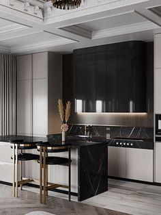 Luxury Kitchen Design, Luxury Kitchens, Interior Design Kitchen, Home Kitchens, Modern Kitchen Cabinets, Kitchen Cabinet Design, Kitchen Island, Kitchen Appliances, Interior Modern