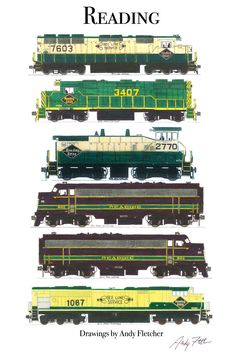 6 hand draw Reading locomotive drawings by Andy Fletcher including his Reading Norfolk Southern heritage engine.
