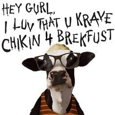 Chick-fil-a Hey Girl. This is too funny! Funny Cute, The Funny, Stupid Funny, Hilarious, Chik Fil A Cow, Eat Mor Chikin, Chick Fil A Nuggets, Cow Appreciation Day, Chicken Signs
