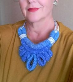Jeans Style Crochet Necklace  Crochet Necklace Blue Light