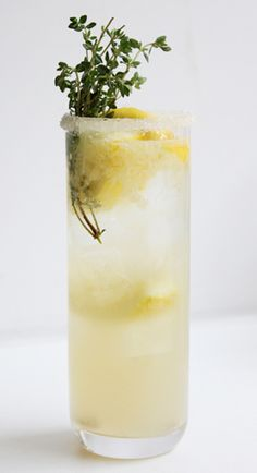 Lemon-Thyme Soda   1 1/2 cups sugar, 2 cups of water, 1 oz. fresh thyme, juice of 6 lemons, & soda water.   Bring the sugar and water to a boil, then add the thyme and let steep until cool. Pass through a fine strainer. In an ice-filled glass, combine 1 1/2 ounces of the thyme syrup with 1/2 ounce of lemon juice.