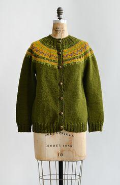 vintage 1960s olive green fair isle cardigan sweater