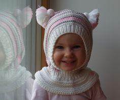 Merino Wool Balaclava Hat, Baby/ Toddler Hoodie hat with Pom Poms, Beige Hat - Neckwarmer. Knitted Balaclava, Knitted Hats, Baby Knitting, Crochet Baby, Snow Hat, Baby Mine, Elf Hat, Kids Hats, Baby Hats