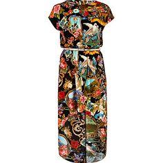 black print chelsea girl dip hem dress - day dresses - dresses - women - River Island