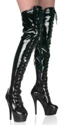 Pleaser Kiss 3023 6 / 15cm heel. Patent lace-up thigh high boot with side zipper. From: 4UK 6US 37EU To: 12UK 14US 45EU http://www.comparestoreprices.co.uk/womens-shoes/pleaser-kiss-3023.asp