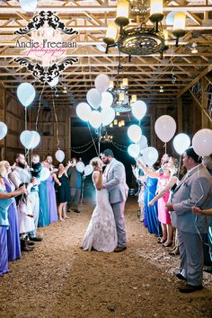 Balloon Wedding Exit | Kelsey and Chris | The Barn at Price Mountain Farm | Athens, Ga Wedding Photographer | Andie Freeman Photography