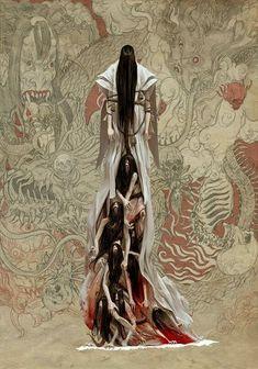 Samurai Inspired Art by Adrian Smith ARTIST: Adrian Smith Rising Sun is a samurai inspired board game from Guillotine Games & CMON. More Samurai Art to lose ur head over: ● Samurai. Dark Fantasy Art, Fantasy Artwork, Dark Art, Japanese Mythology, Japanese Folklore, Japanese Art, Creature Concept Art, Creature Design, Adrian Smith