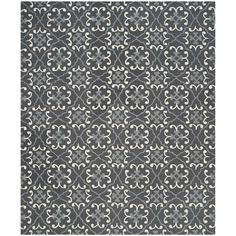 Safavieh Hand-Hooked Indoor/ Outdoor Four Seasons Dark Grey/ Ivory Rug (8' x 10')
