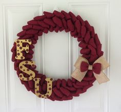 Florida State University burlap wreath w/ gold/garnet bow and polka dot FSU letters - FSU - Seminoles