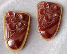 2 Matching Art Deco Carved Chocolate Bakelite Dress Clips