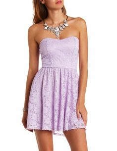 Strapless Bow-Back Lace Skater Dress: Charlotte Russe
