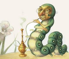 Mauro Evangelista, The Blue Caterpillar, Alice in Wonderland | From: Love for Books! ||| book, illustration, Lewis Carroll