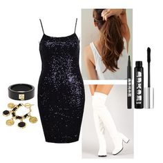 """Ariana Grande in """"Problem""""-                                This chic '60s-inspired mod look that Ari rocked in the """"Problem"""" vid is simple to pull off with just a black sequin dress, some chunky-heeled knee-high boots (preferably white) and matching accessories. Add a pony and a cat eye to take your costume to the next level of authenticity!   #halloween #Halloween2014 #diyhalloweencostumes #ArianaGrande"""