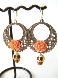 Day of the Dead Earrings, Dia de Los Muertos Hoops by polishedtwo, $14.00