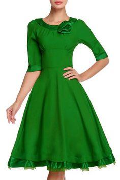Noble Scoop Neck 3D Flower Embellished Solid Color 1/2 Sleeve Ball Dress For Women