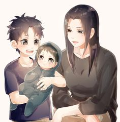 Mikoto, Itachi and Shisui