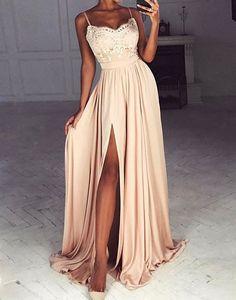 Champagne chiffon lace long prom dress, champagne evening dress
