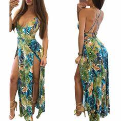 Vestido Longo Floral Frente Única Com Fendas  por apenas R$ 89,90 com frete gratis | UFashionShop