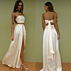 WRAP TWO PIECE GOWN IN SUEDED SILK FOX – Sisters The Label