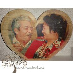 Houten hart met persoonlijke foto 30 x 19,5 cm