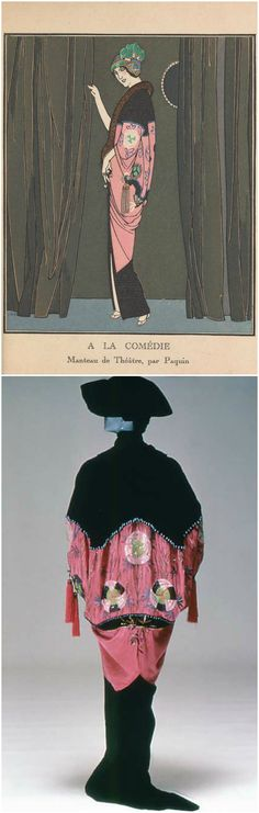 """Opera coat by Jeanne Paquin, 1912, at the Metropolitan Museum of Art. Illustration from """"Gazette du bon ton: arts, modes & frivolités,"""" 1912-1913, Tome I, courtesy of the Smithsonian Libraries."""