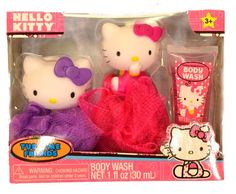 Hello Kitty Tub Time Friends 3 Pcs Bath Gift Set - Includes 2 Bath Poufs & Body Wash