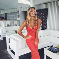 Natasha Oakley in red dress Casual Outfits, Summer Outfits, Summer Dresses, Natasha Oakley, Lace Evening Gowns, Mermaid Prom Dresses, Sexy Dresses, Dress To Impress, Fashion Beauty