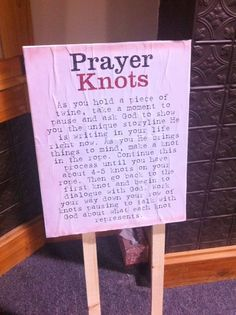 Prayer Station - make a knot for every problem/diffuculty you may be facing and then go back and untie the knots while listening for Gods answers in meditation. Letting the problems go to God. Prayer Ministry, Youth Ministry, Ministry Ideas, Youth Rooms, Prayer Wall, Prayer Room, Object Lessons, Bible Lessons, College Girls