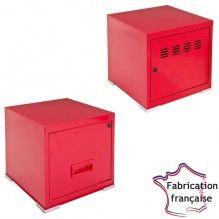 Meuble 2 portes métal rouge - 3 hauteurs So French Deco | Meubles ...
