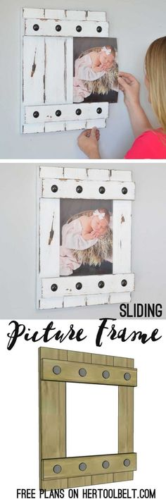 Plans of Woodworking Diy Projects - Change out your photo prints super easy with a sliding farmhouse style frame. Make these cute frames out of wood with free plans Get A Lifetime Of Project Ideas & Inspiration! Wood Projects For Beginners, Diy Wood Projects, Wood Crafts, Welding Projects, Easy Woodworking Projects, Woodworking Plans, Popular Woodworking, Woodworking Furniture, Woodworking Shop